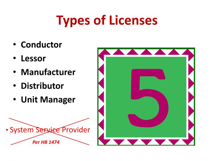 Types of licenses