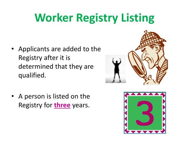 Worker Registry Listing