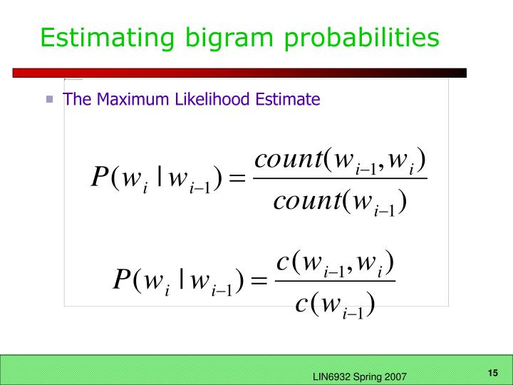Estimating bigram probabilities