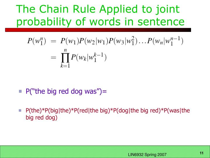The Chain Rule Applied to joint probability of words in sentence