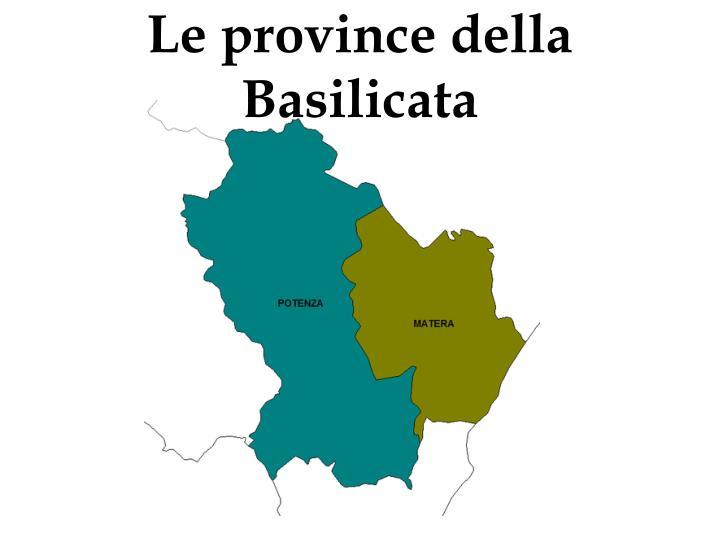Le province della Basilicata