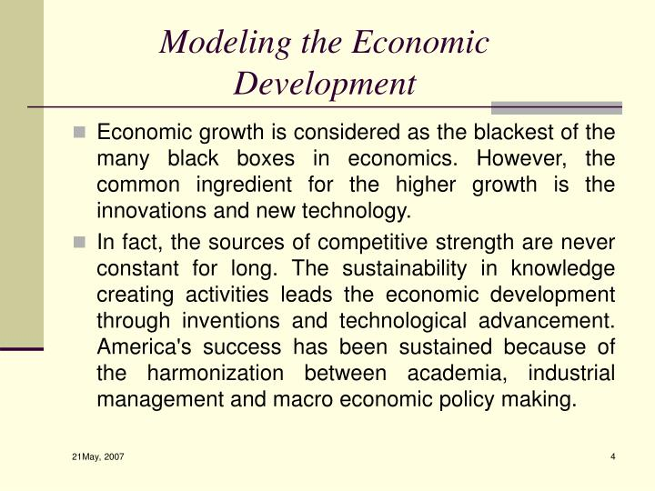 Modeling the Economic Development