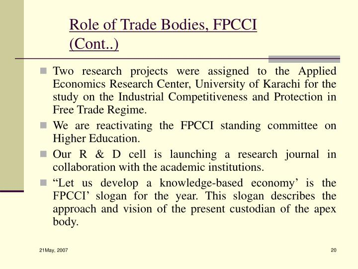 Role of Trade Bodies, FPCCI (Cont..)