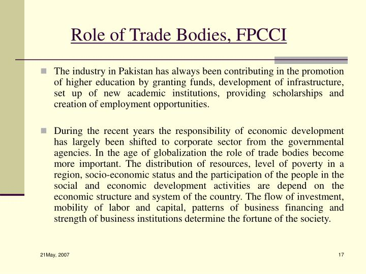 Role of Trade Bodies, FPCCI