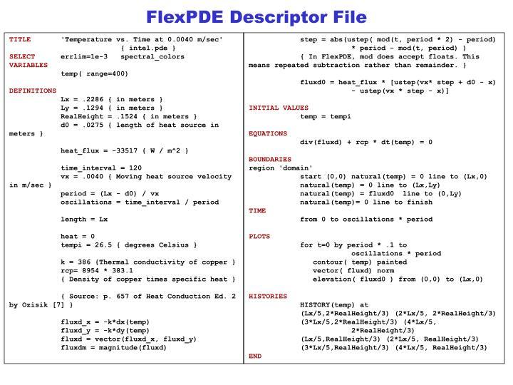 FlexPDE Descriptor File