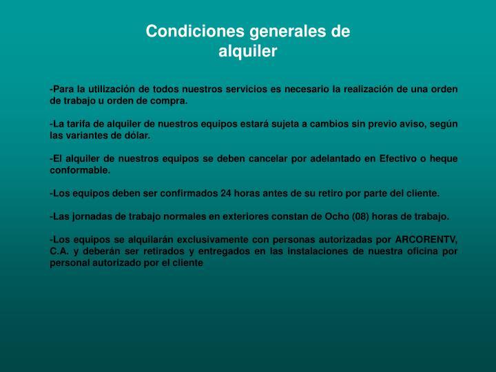 Condiciones generales de alquiler