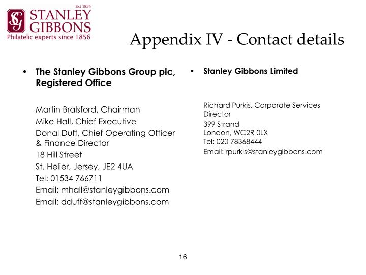 The Stanley Gibbons Group plc, Registered Office