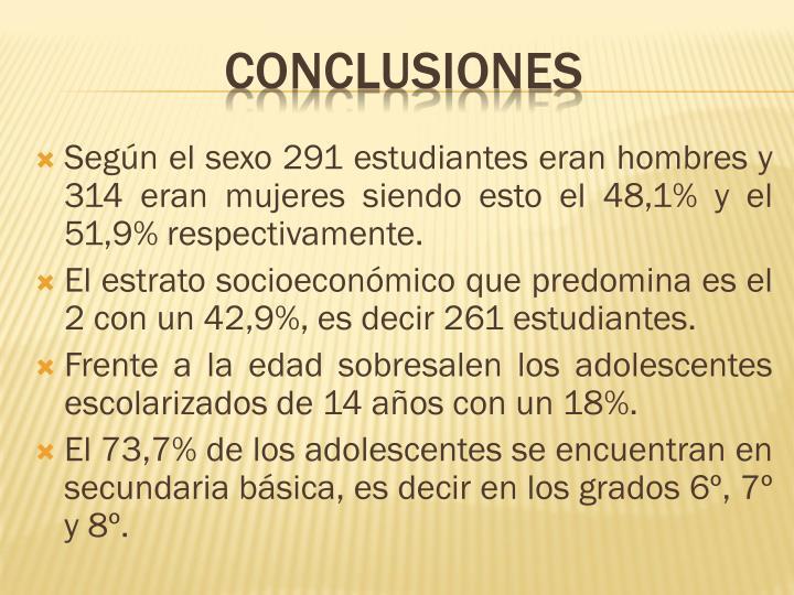 Según el sexo 291 estudiantes eran hombres y 314 eran mujeres siendo esto el 48,1% y el 51,9% respectivamente.