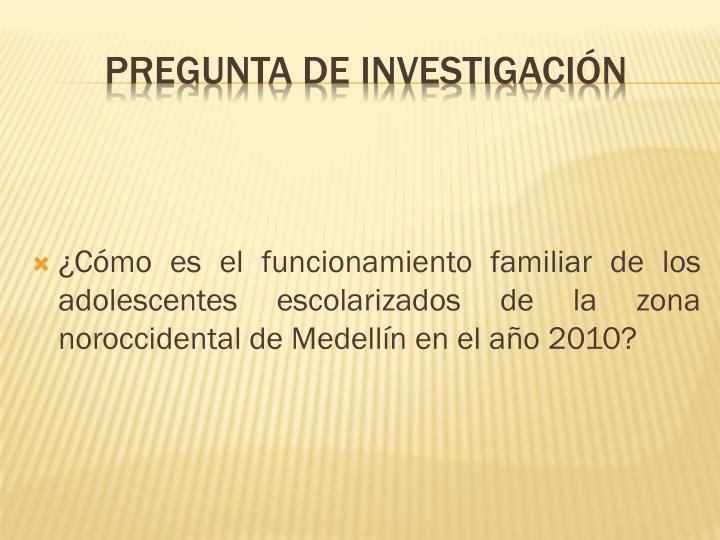 ¿Cómo es el funcionamiento familiar de los adolescentes escolarizados de la zona noroccidental de Medellín en el año 2010?