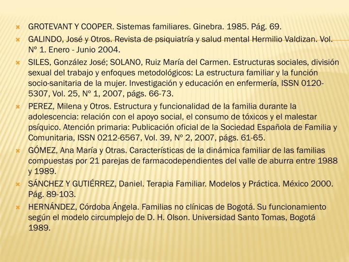 GROTEVANT Y COOPER. Sistemas familiares. Ginebra. 1985. Pág. 69.
