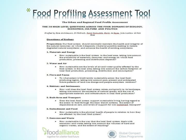 Food Profiling Assessment Tool