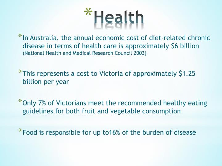 In Australia, the annual economic cost of diet-related chronic disease in terms of health care is approximately $6 billion