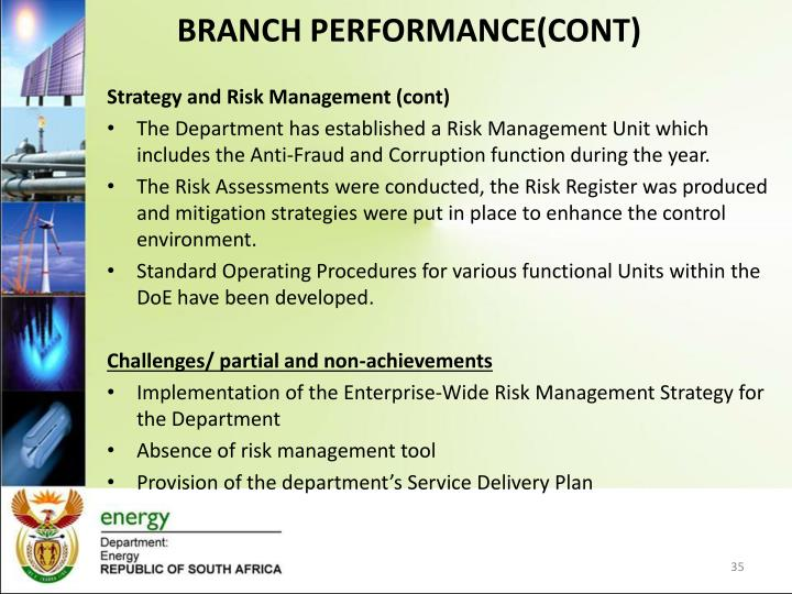 BRANCH PERFORMANCE(CONT)