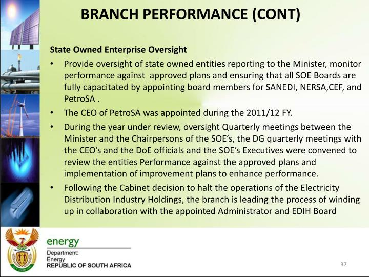 BRANCH PERFORMANCE (CONT)