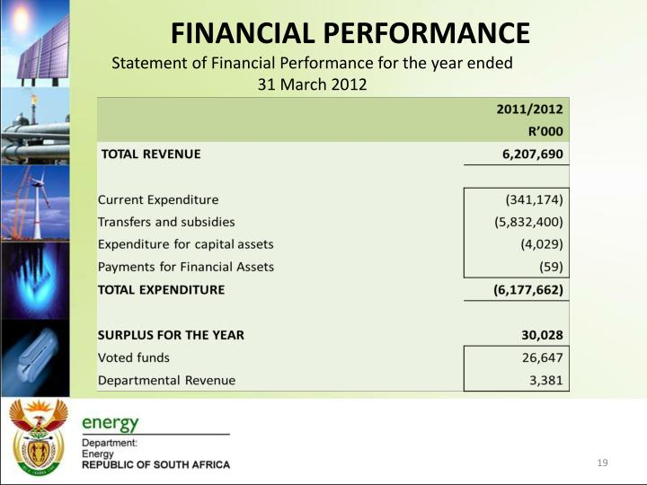 Statement of Financial Performance for the year ended 31 March 2012