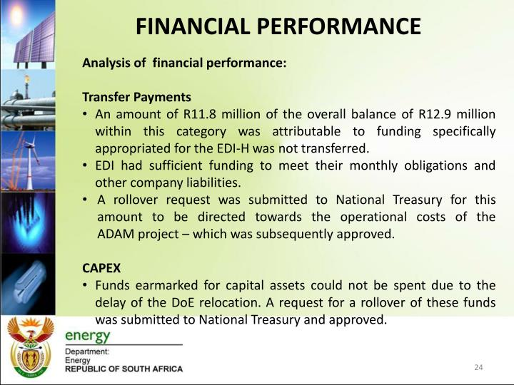 Analysis of  financial performance: