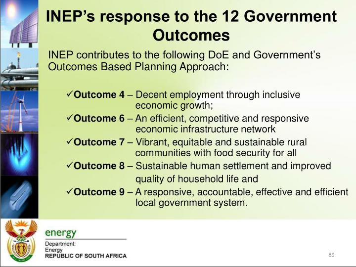 INEP's response to the 12 Government Outcomes