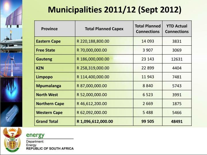 Municipalities 2011/12 (Sept 2012)