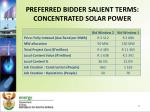 preferred bidder salient terms concentrated solar power