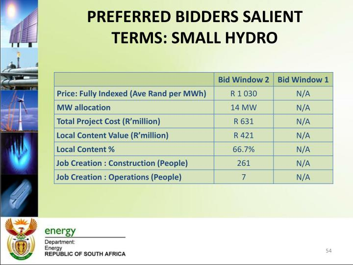 PREFERRED BIDDERS SALIENT TERMS: SMALL HYDRO