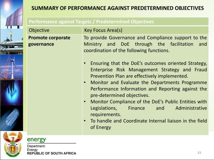 SUMMARY OF PERFORMANCE AGAINST PREDETERMINED OBJECTIVES