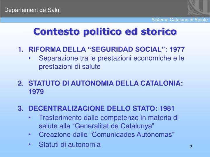 Contesto politico ed storico