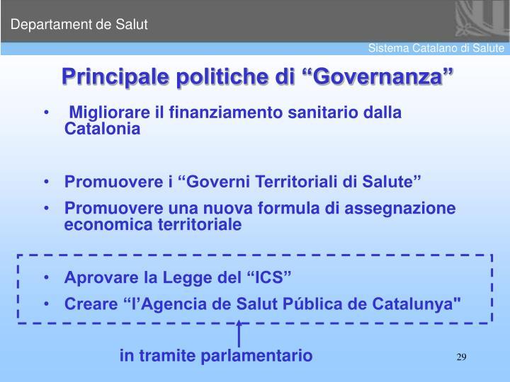 """Principale politiche di """"Governanza"""""""