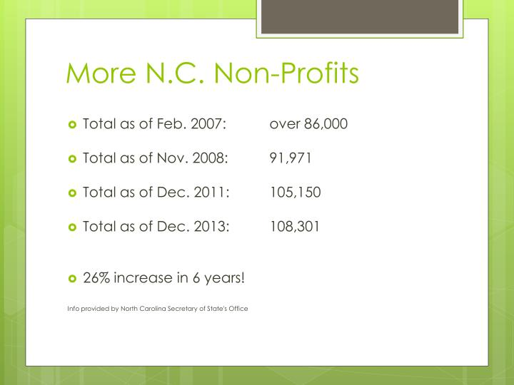 More N.C. Non-Profits