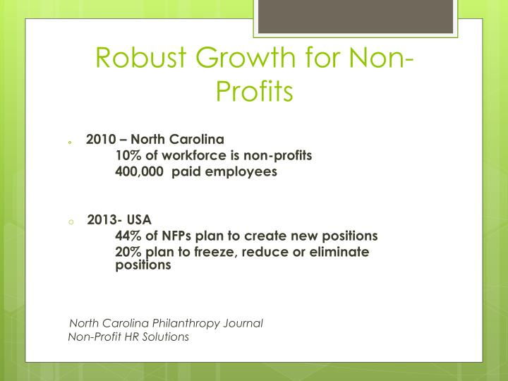 Robust Growth for Non-Profits