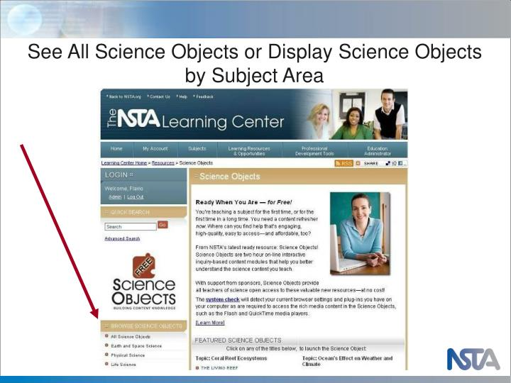 See All Science Objects or Display Science Objects by Subject Area