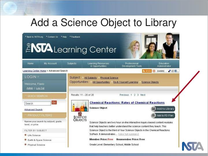 Add a Science Object to Library