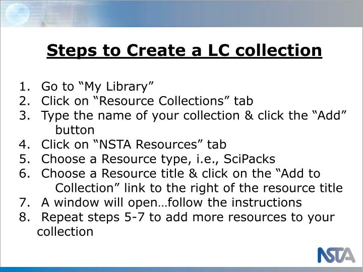 Steps to Create a LC collection