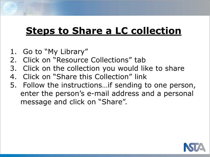Steps to Share a LC collection