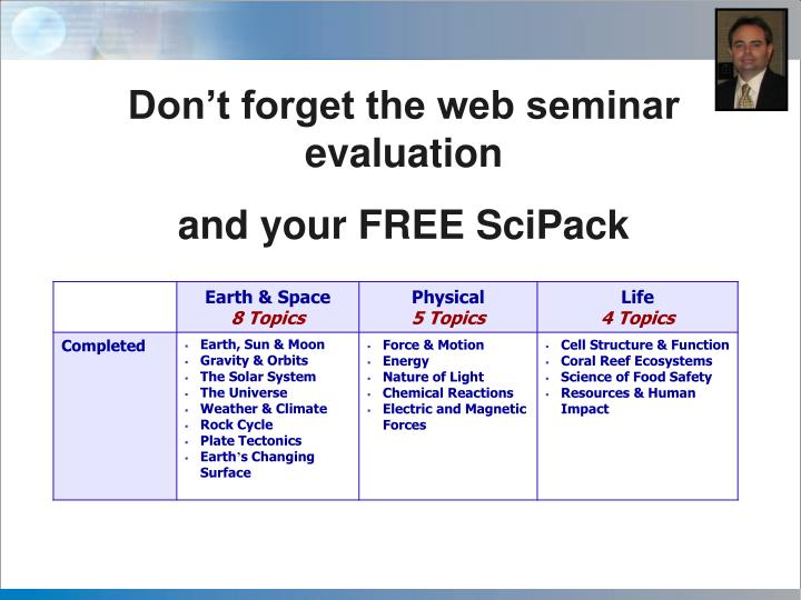 Don't forget the web seminar evaluation