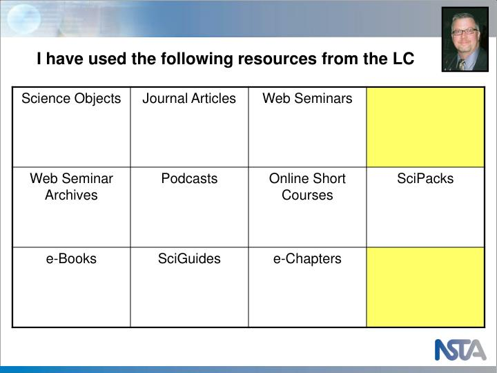 I have used the following resources from the LC