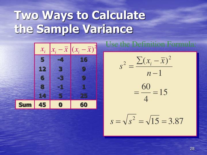 Two Ways to Calculate the Sample Variance