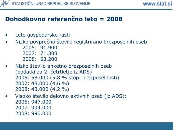 Dohodkovno referenčno leto = 2008
