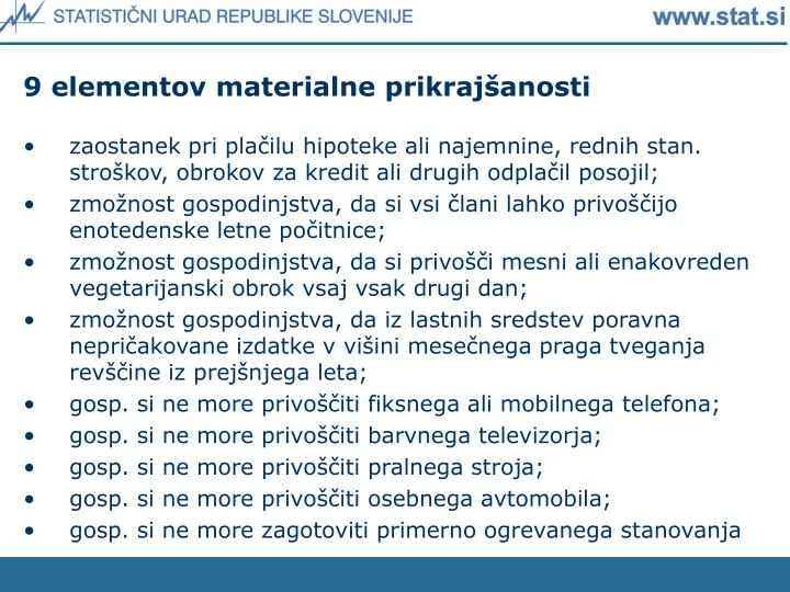 9 elementov materialne prikrajšanosti