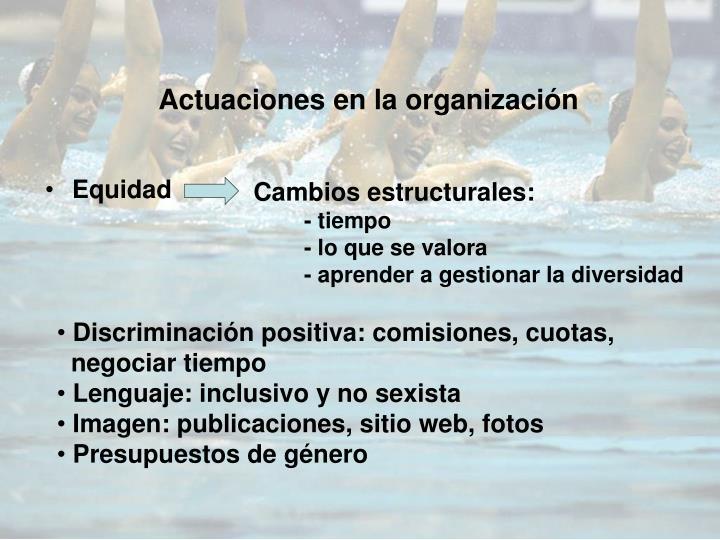 Actuaciones en la organización