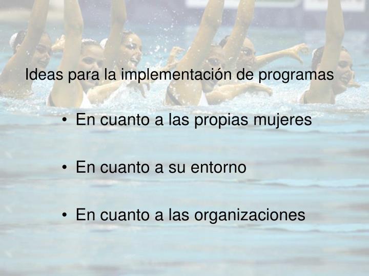 Ideas para la implementación de programas