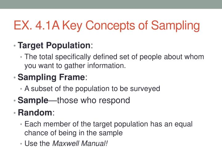 EX. 4.1A Key Concepts of Sampling