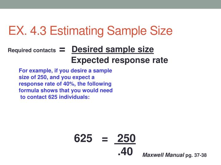 EX. 4.3 Estimating Sample Size