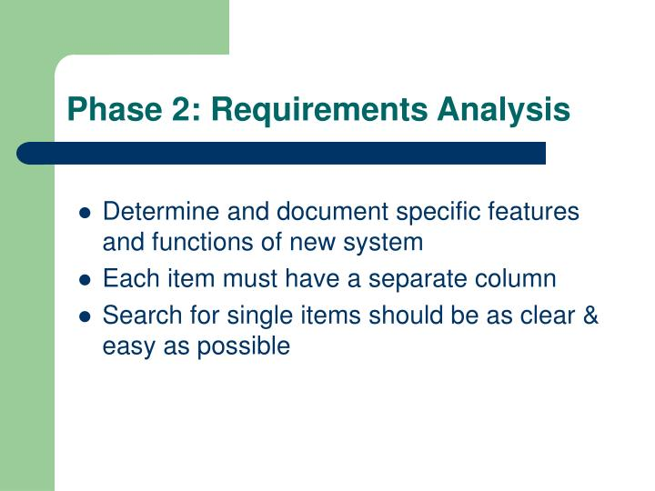 Phase 2: Requirements Analysis