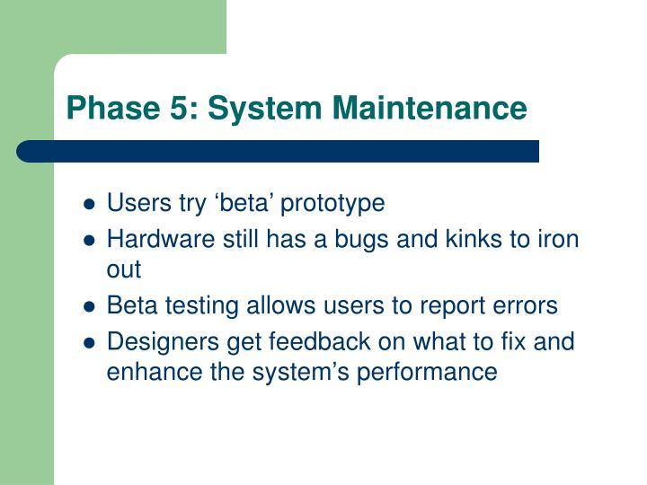 Phase 5: System Maintenance