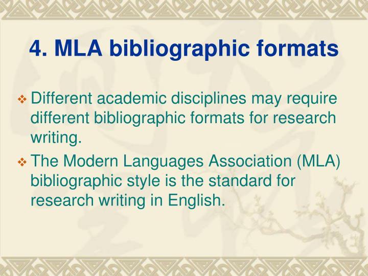 4. MLA bibliographic formats