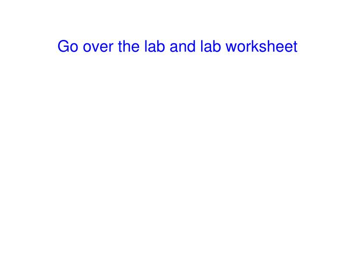 Go over the lab and lab worksheet