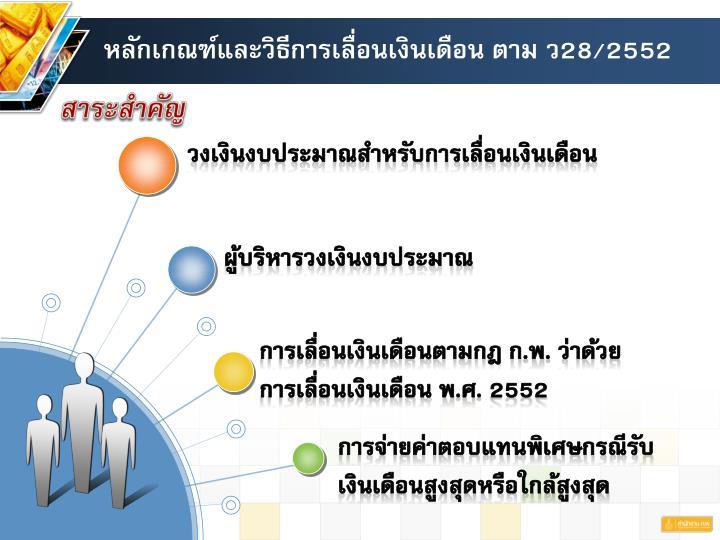 หลักเกณฑ์และวิธีการเลื่อนเงินเดือน ตาม ว28/2552