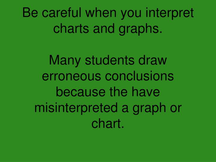 Be careful when you interpret charts and graphs.