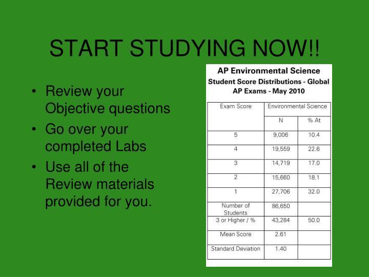 START STUDYING NOW!!