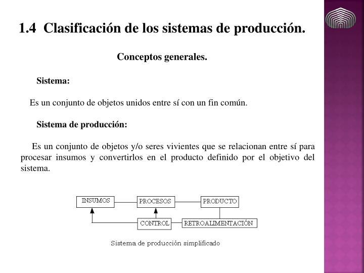 1.4 Clasificación de los sistemas de producción.